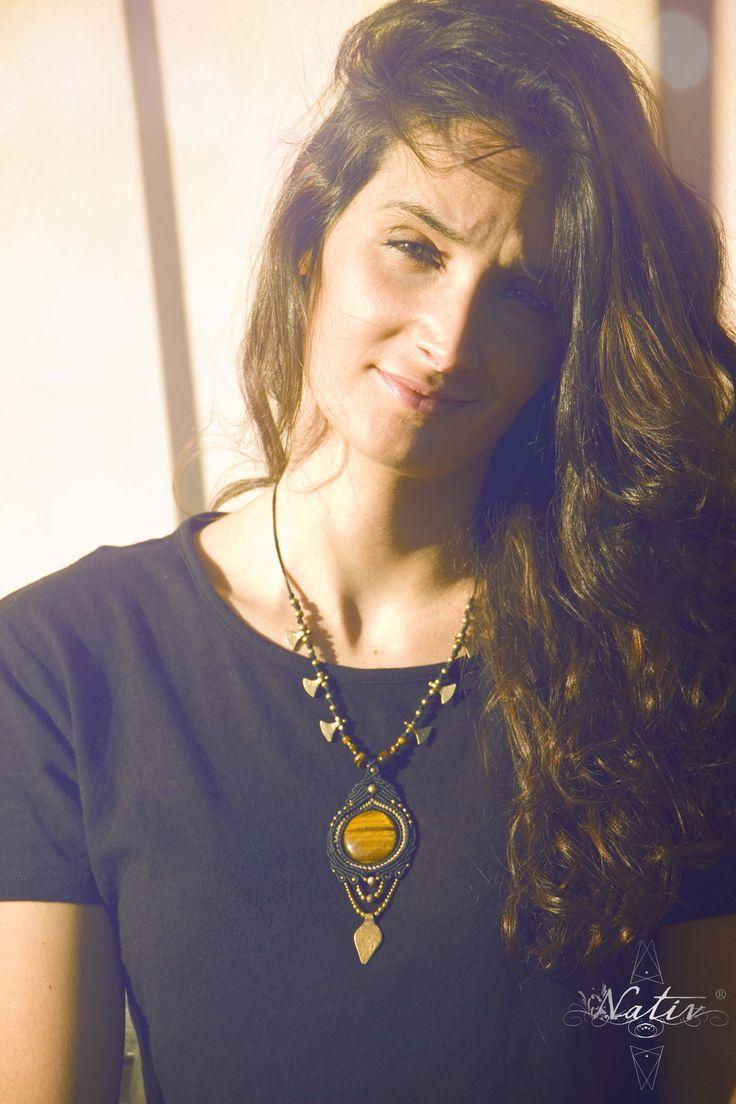 Macrame Necklace with Tiger Eye by Nativ World  #macrame #handmade #stones #macramejewelry #handmadejewelry #tigereye #brass #Nativ
