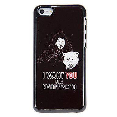 Man met Wolf Patroon Aluminous Hard Case voor iPhone 5C – EUR € 5.75