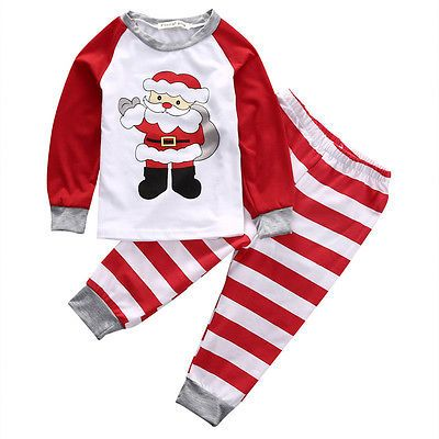 >> Click to Buy << 2pcs Family Christmas Baby Boy Girl Clothes Long Sleeve Santa Striped T-shirt +Long Pants Xmas Baby Sleepwear Nightwear Pajamas  #Affiliate