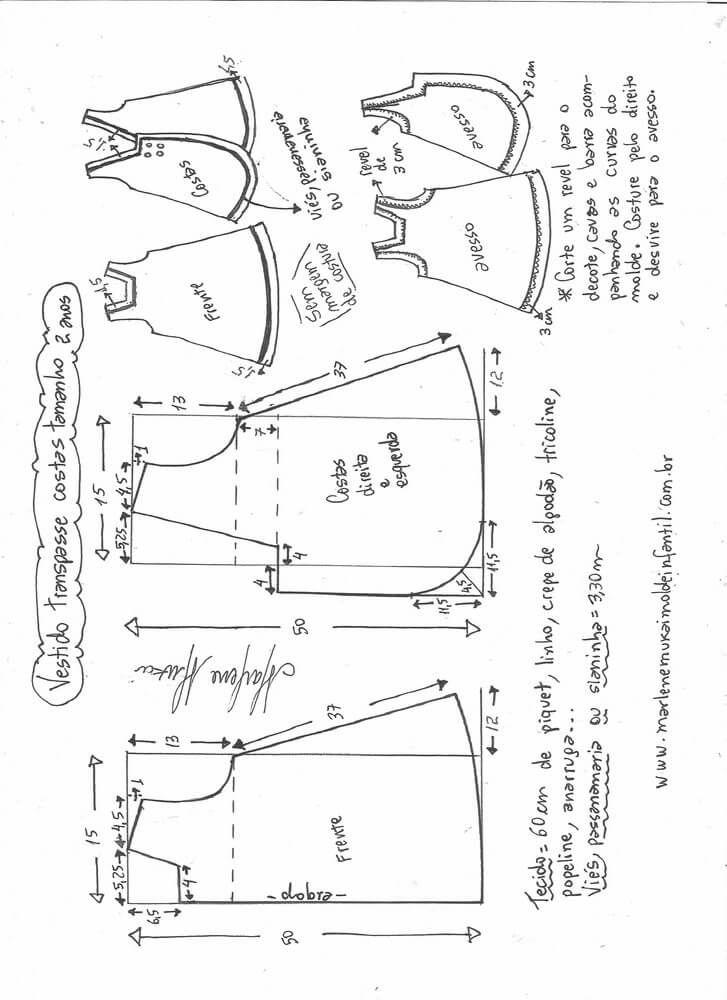 Patrón de vestido de niña cruzado y botones en la espalda   costura ...