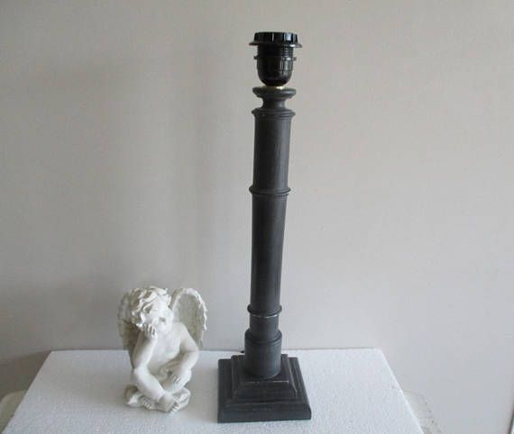 PIED DE LAMPE patiné noir baroque cabinet de curiosité /