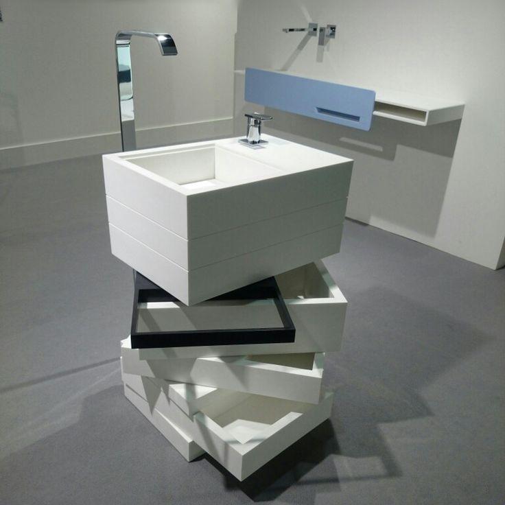 MyBath Levels washbasin presented during ISH Frankfurt Messe 2015  www.mybath.pl  #mybath #corian #coriandesign #interiordesign #bathroom #bathroomdesign