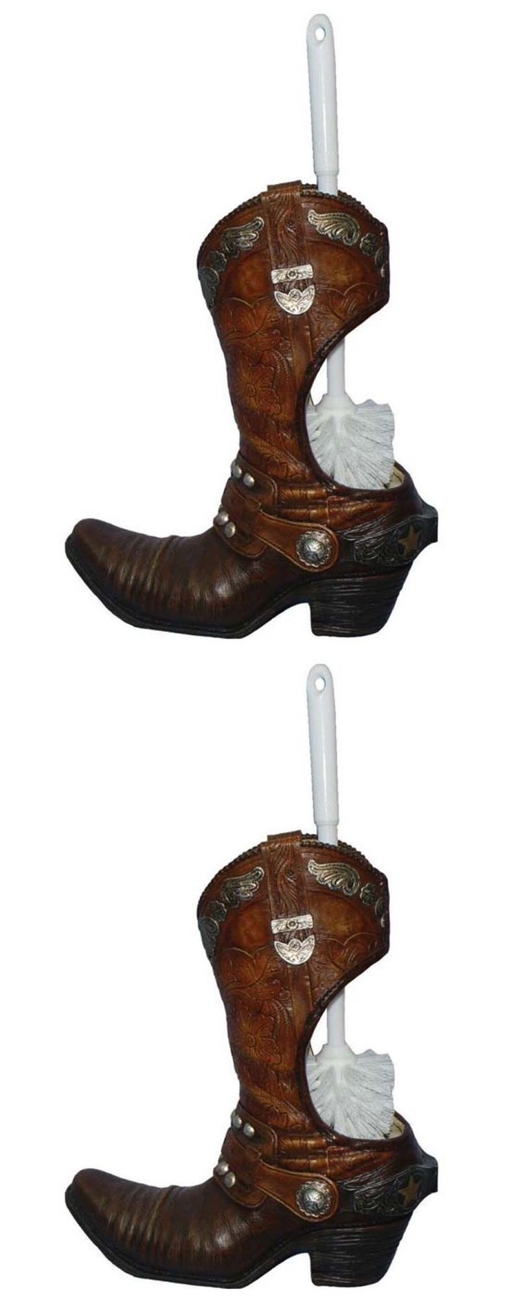 Cowboy bathroom decor - Toilet Brushes And Sets 66723 River S Edge Cowboy Boot Toilet Brush Holder Western Product