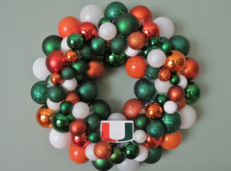 MIAMI HURRICANES Ornament Wreath. $59.00, via Etsy.