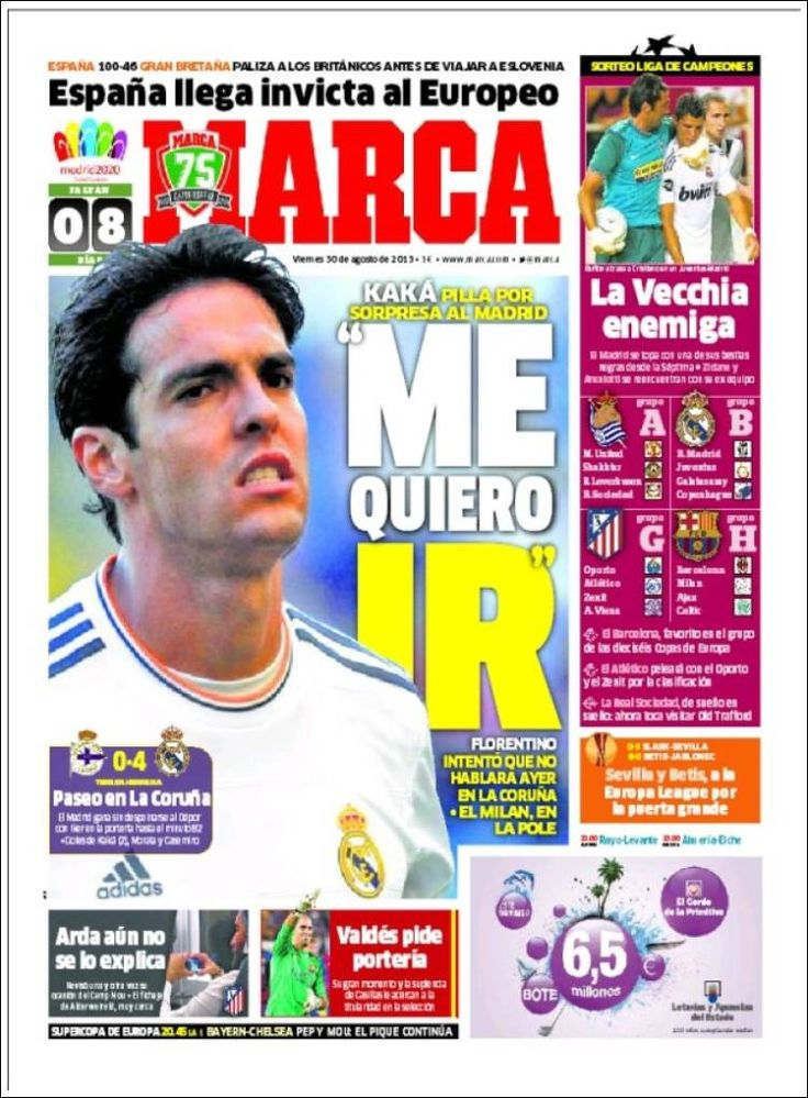 Los Titulares y Portadas de Noticias Destacadas Españolas del 30 de Agosto de 2013 del Diario Deportivo MARCA ¿Que le pareció esta Portada de este Diario Español?