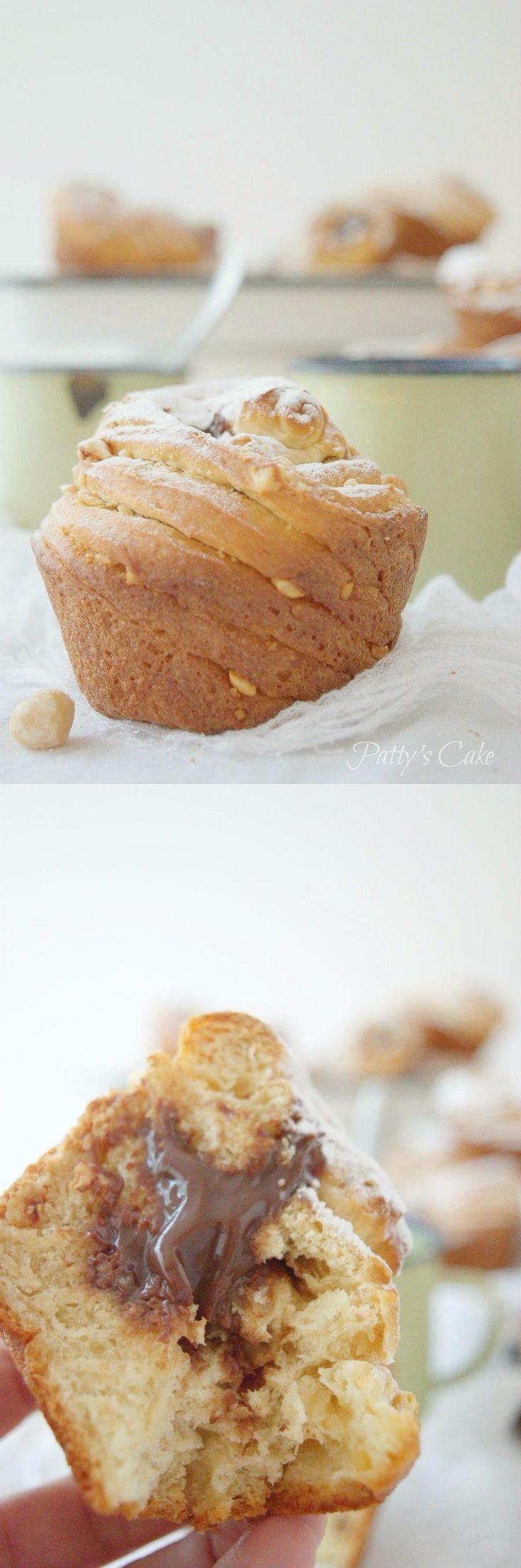 Cruffins rellenos con avellanas y chocolate / http://pattyscake-pbb.blogspot.com.es/