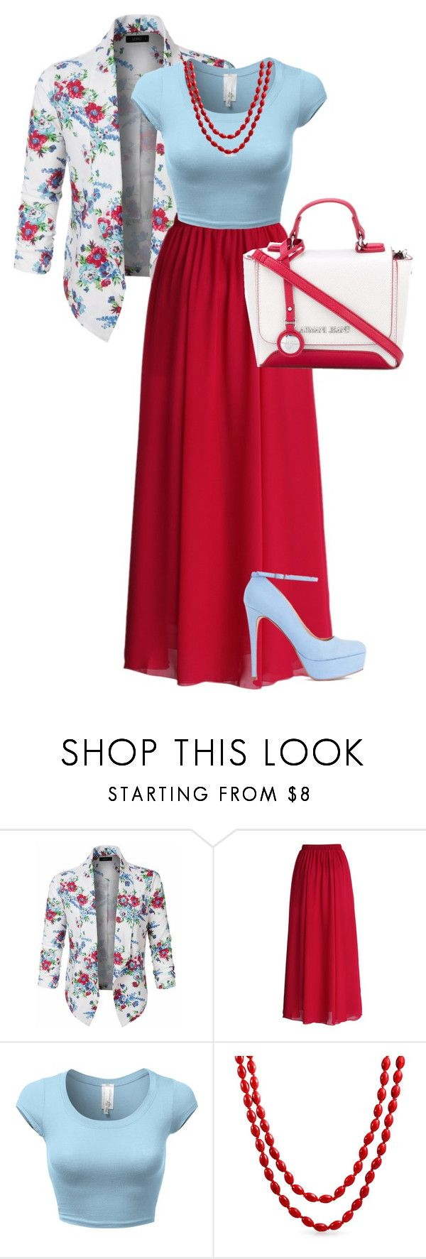 """""""Outfit 17"""" by x-quirkyqueen-x on Polyvore featuring LE3NO, Chicwish, Bling Jewelry and Armani Jeans"""
