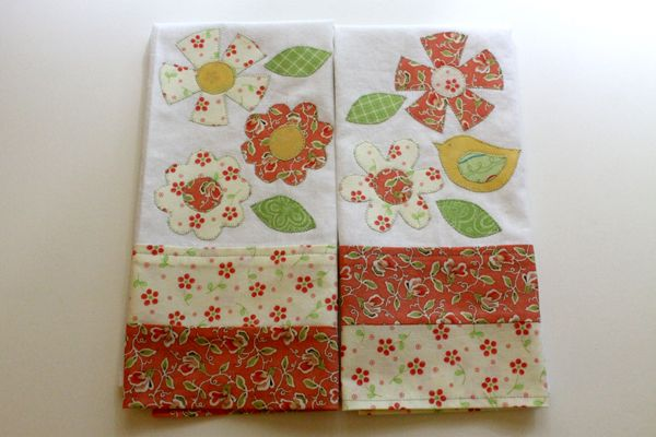 DIY Tea Towels with Moda Fabrics and flower appliques