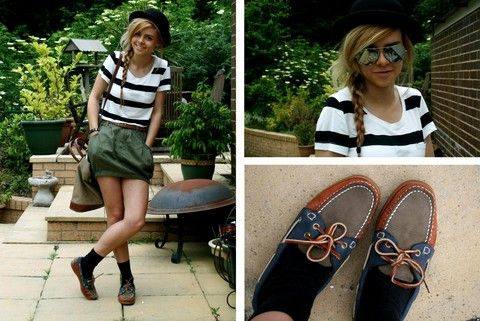 H Stripe T Shirt, H Utility Skirt, Sebago Deck Shoes, Ray Ban Aviators http://monbottier.fr/291-sebago-femme
