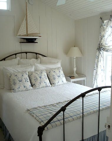 Coastal Beach Cottage Bedroom Decorating Ideas Via Completely Coastal