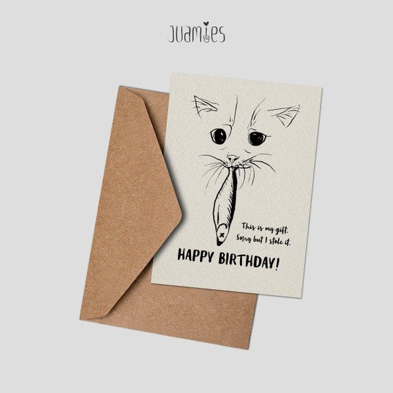 Printable Happy Birthday Cat Card Funny For Lover DIGITAL DOWNLOAD