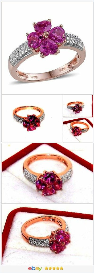 Pink Sapphire Heart ring 3.00 ctw size 7 Sterling USA SELLER  | eBay  50% OFF #EBAY http://stores.ebay.com/JEWELRY-AND-GIFTS-BY-ALICE-AND-ANN