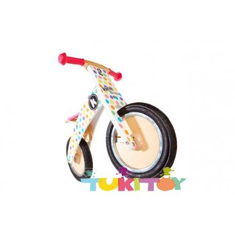 Bicicleta aprendizaje de madera Kiddimoto Kurve Pastel Dotty #Kiddimoto  #bicicletas #sinpedales de madera #Kiddimoto son perfectas para el #aprendizaje. Estas #bicicletas desarrollan la #motricidad gruesa, el sentido del #equilibrio y la #coordinación. Les enseña a controlar el espacio aumentando su autoconfianza y #seguridad. Fabricada en madera resistente y ligera a la vez permitirá al #niño desplazarse sin mayor dificultad, el sillín es regulable a distintas alturas