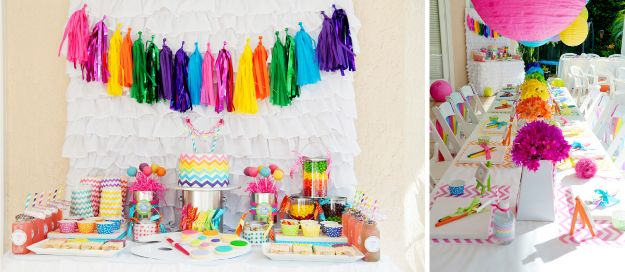 Girl party ideas including chevron-arts-and-crafts-rainbow-party-ideas