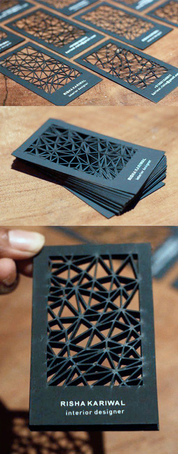 Intricate Laser Cut Black Business Card by Smriti Kariwal