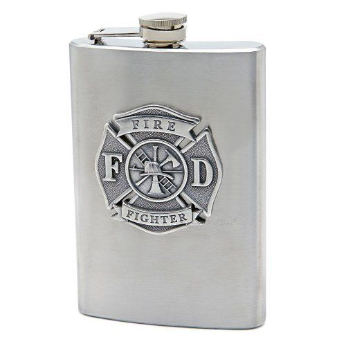 "Firefighter Hip Flask by HomeWetBar. $28.95. Celebrate the bravery and honor of the firefighter in your life. Features high-quality stainless steel liquor flask; three-dimensional pewter firefighter logo enhanced with silver for a. Measures 6""H x 3.75""W; holds 8oz. Unique and special gift. Celebrate the bravery and honor of the firefighter in your life. Unique and special gift. Features high-quality stainless steel liquor flask; three-dimensional pewter firefighter logo ..."