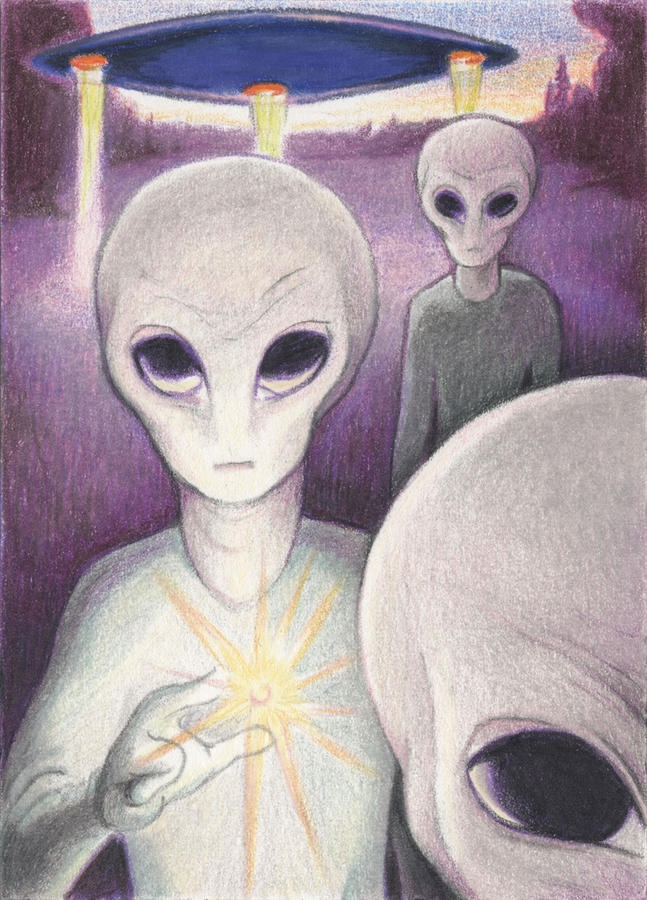 Alien Offering Drawing  – Alien Offering Fine Art Print