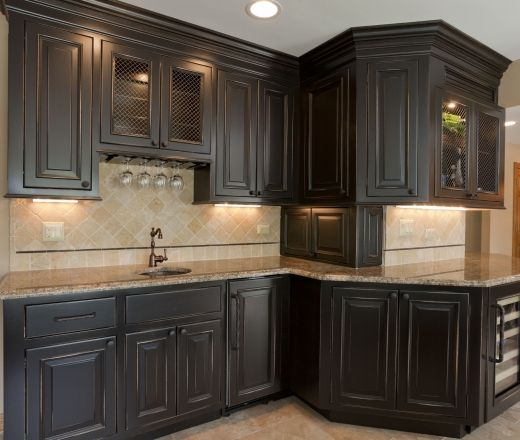 25 best ideas about dark wood cabinets on pinterest for Black kitchen cabinets photos