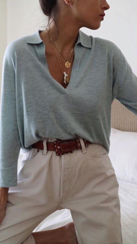 Vintage simple women's jeans style, loose knitwear …
