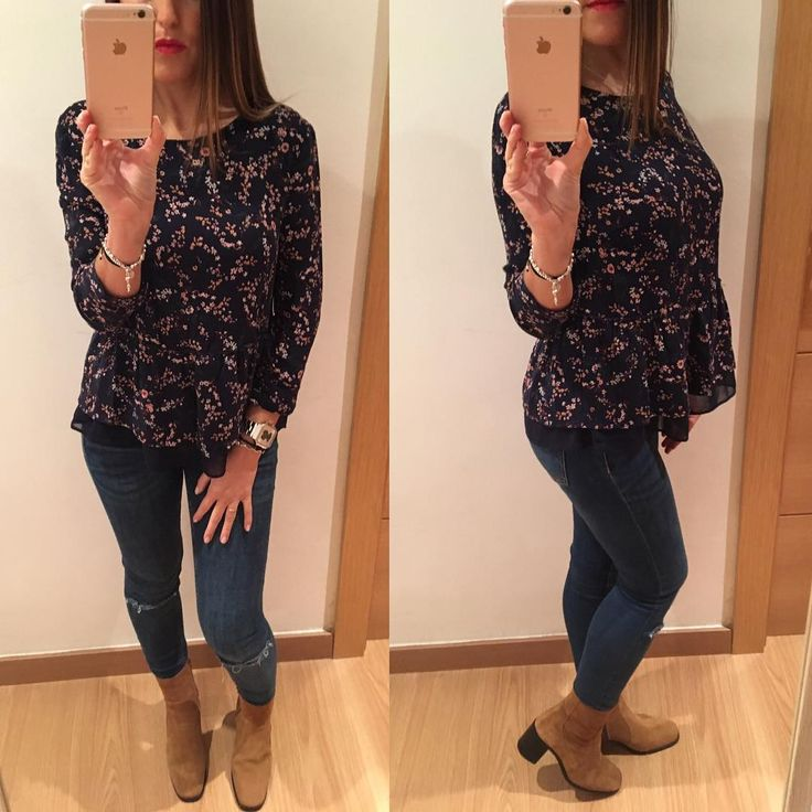 "58 Me gusta, 8 comentarios - Victoria🙋🏽❤Daisy🐶 (@vicky_joss) en Instagram: ""Look de lunes  Blusa #bershka  Jeans #zara Botas #zara . . . . . . . . . . . . #lookbook…"""