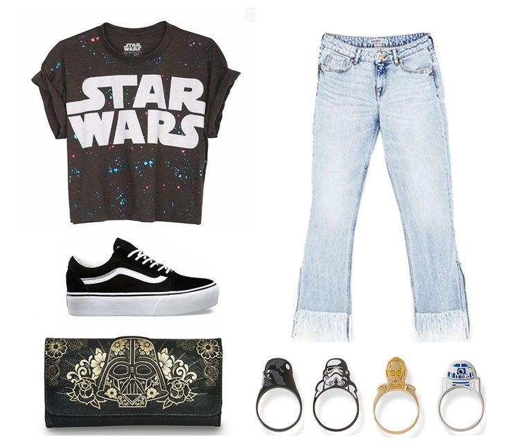 Absolute Star Wars outfit, combing the classic star wars shirt, with kickass star wars rings, and way too cool darth vader wallet, all with the classic vans high tops and fringe jeans! Can't get any cooler then this!! Wallet: www.loungefly.com rings: little raymond jeans: www.zara.com shoes: www.vans.com shirt: www.polyvore.com