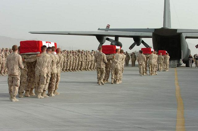 Ramp Ceremony held at Kandahar Airfield, Afghanistan. Corporal Christopher Jonathan Reid Corporal Bryce Jeffrey Keller, Private Kevin Dallaire, and Sergeant Vaughan Ingram. All were from the Edmonton-based 1 Princess Patricia's Canadian Light Infantry.