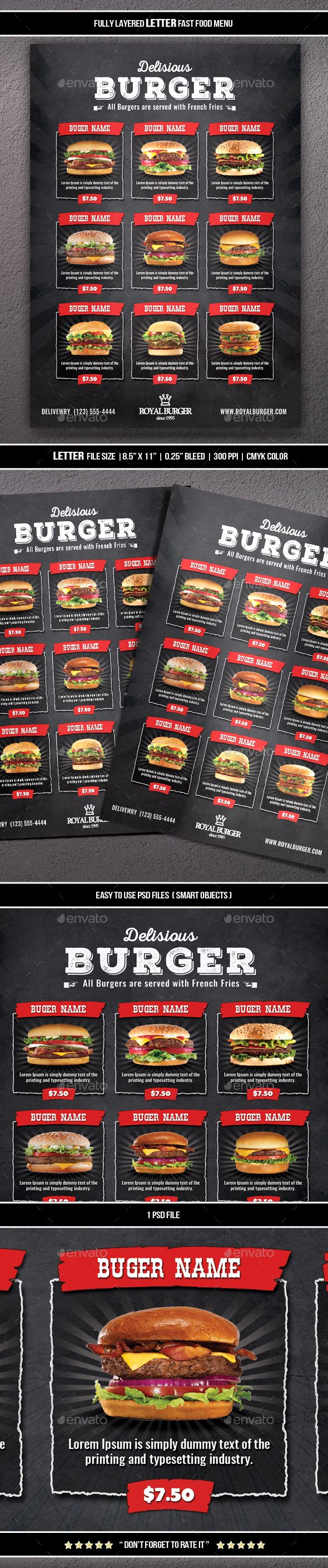 """Fast Food Menu """"Fast Food Menu (Letter)"""" Suitable for any restaurant and fast food business. Easy to move or change if required. Files are structured in folders and well named for easy editing. Change text, edit colors and move items. Easy to change images. (smart objects)  Contents: – 1 Labeled .psd file 