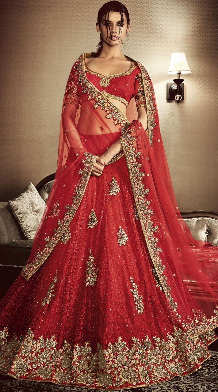 Attracts Million Heavy Embroidered Red Net Bridal Lehenga Choli