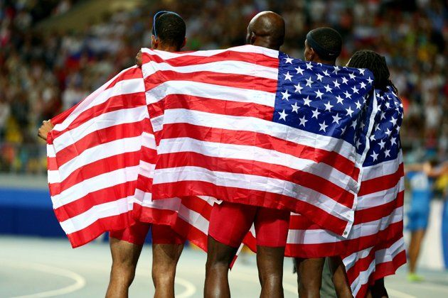 LaShawn Merritt,Tony McQuay, Arman Hall and David Verburg of the United States celebrate winning gold in the Men's 4x400 metres relay final during Day Seven of the 14th IAAF World Athletics Championships Moscow 2013 at Luzhniki Stadium at Luzhniki Stadium on August 16, 2013 in Moscow, Russia. (Photo by Cameron Spencer/Getty Images)