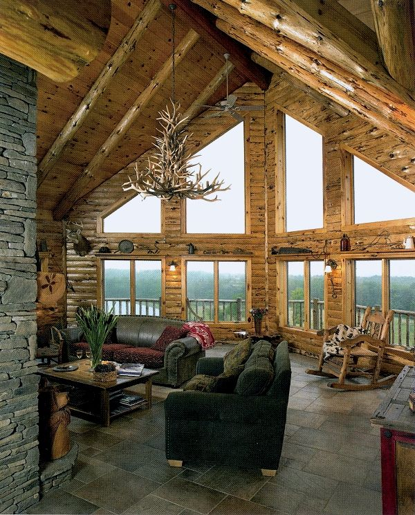 Adirondack country log homes with an awesome view Log cabin chandelier