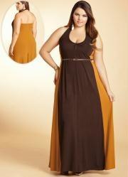 vestido longo mostarda/marrom frente única