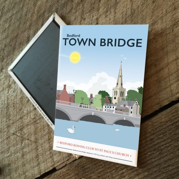 Bedford Town Bridge Magnet  £3.00  Bedford Town Bridge is now captured on a magnet.  Designed by myself and professionally digitally printed and constructed in the UK. Magnet is packaged in branded packaging making it the perfect gift or treat for yourself! Dimensions: 5.5 x 8 cm