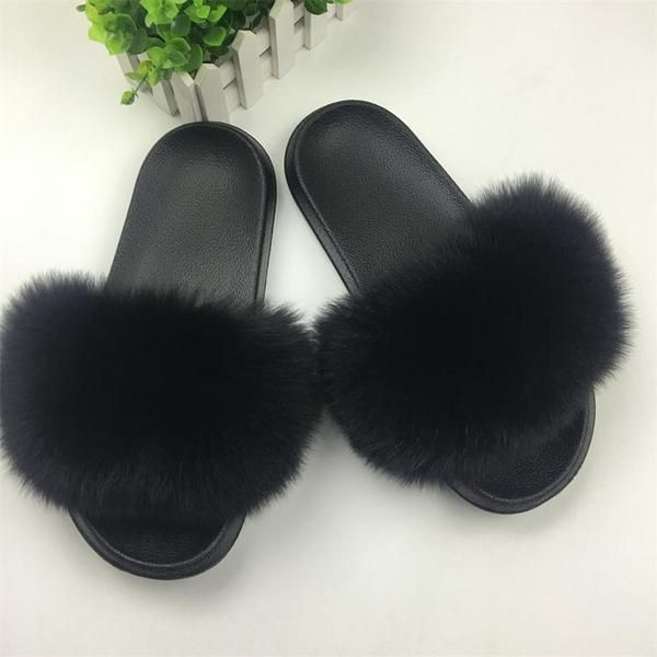 Foxy slippers | Fluffy sliders, Womens slippers, Fluffy sandals