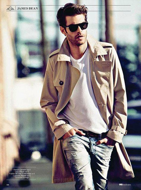 .: Men Clothing, Jon Kortajarena, Menfashion, Men Style, White Shirts, Jeans, Men Fashion, James Dean, Trench Coats