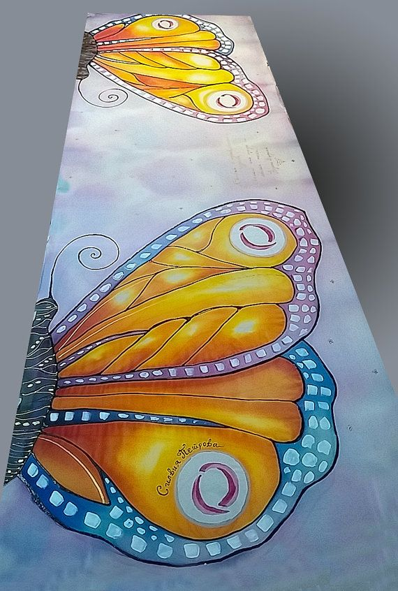 Hand painted silk scarf Colorful butterfly by JoannaArtDesign