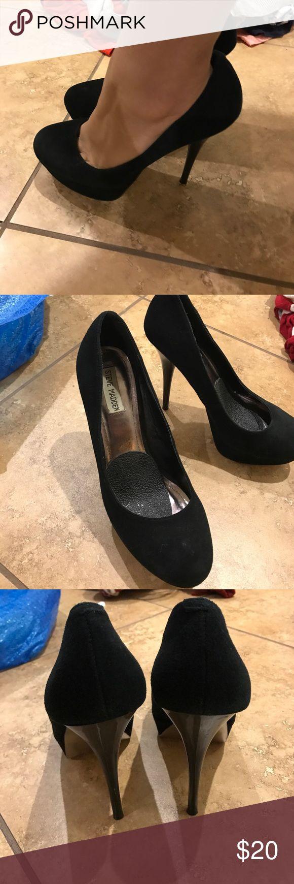 Steve Madden high heels black 6in velvet heels. Comfortable and easy to walk in Steve Madden Shoes Heels