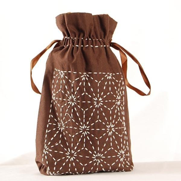 Flax Leaf Drawstring Bag - Digital Pattern