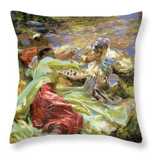 The Throw Pillow featuring the painting The Chess Game by Sargent John Singer