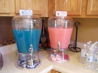 drink idea pink lemonade and blue Hawaiian punch!!!  Awesome