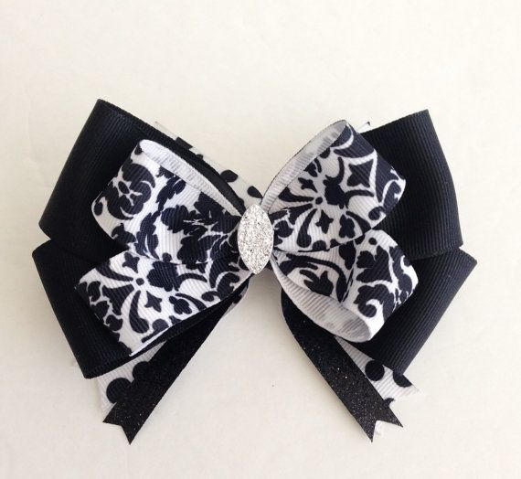 Black Damask Hair Bow / Damask Hair Bows / Fancy Hair Bows / Hair Bows / Hair Bows for Girls / Wedding Hair Bows / Princess Hair Bows / Bows on Etsy, $6.49