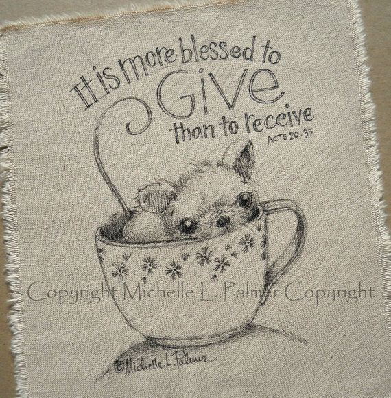 Mouse in tea cup Scripture original pen ink illustration on fabric Quilt Label by Michelle Palmer August 2013 ♥