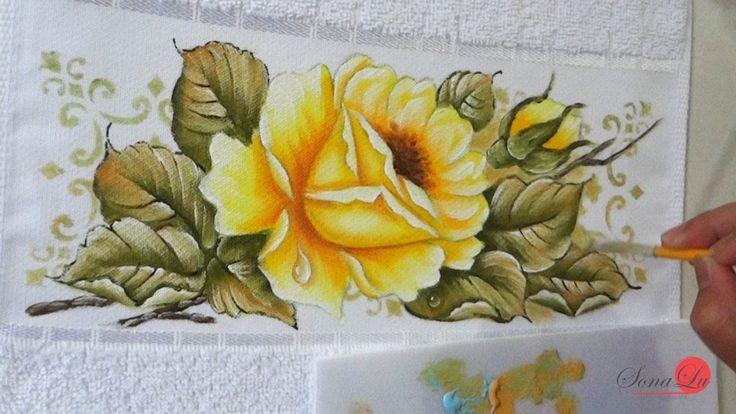 Rosa Amarela com Gota em tecido (Aula 123)