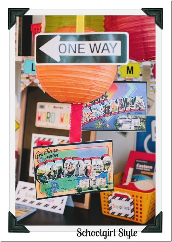 Classroom themes by Schoolgirl Style Road Trip Theme - vintage postcards  www.schoolgirlstyle.com