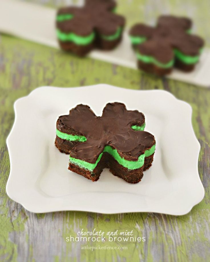 Chocolate and Mint Shamrock Brownies from atthepickefence.com.  A perfect treat for St. Patrick's Day!