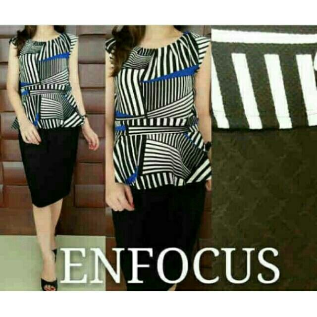 Enfocua peplum striped dress Idr 159rb Pemesanan via WA : 081804447293 Atau Official Line @lsu5782g