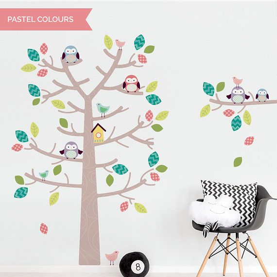 NEW Woodland Tree And Owls On Tree Branch Wall Sticker