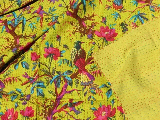 Bird of Paradise Kantha Quilt: Yellow