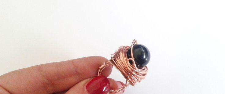Anelli - anello rustico perla onice nera avvolta - un prodotto unico di tizianat su DaWanda