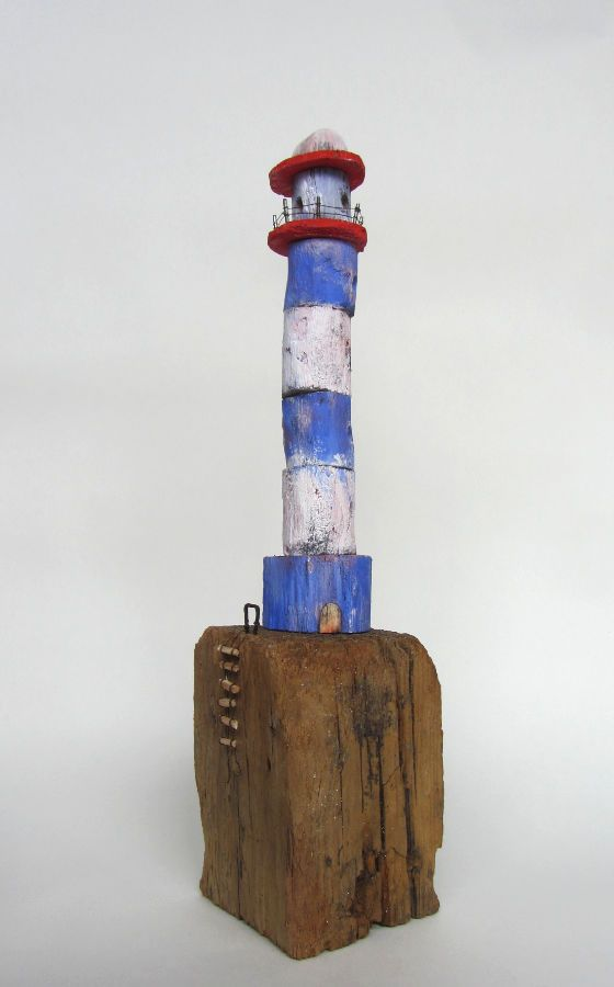 Blue and white lighthouse with ladder made from driftwood in West-Cork, Ireland. Available at the Blue Egg Gallery in Wexford. http://www.blueegggallery.ie
