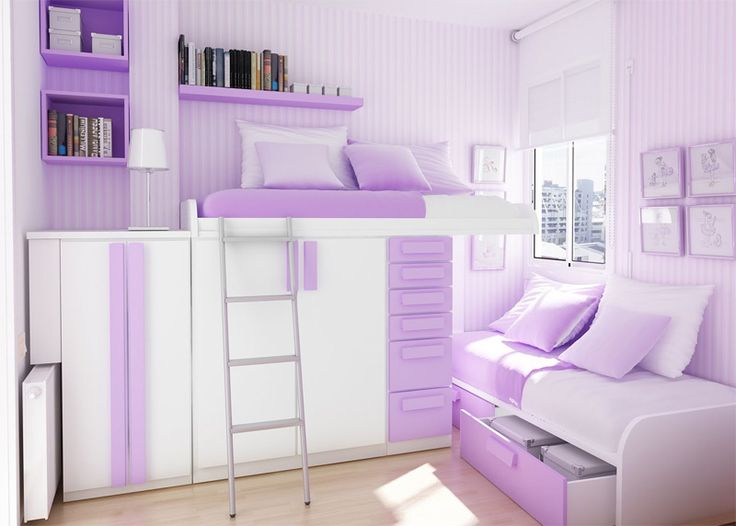 A Bit too much purple for my taste but i like the room layout idea, minus the fact that I would probably fall out of the top bed. lol